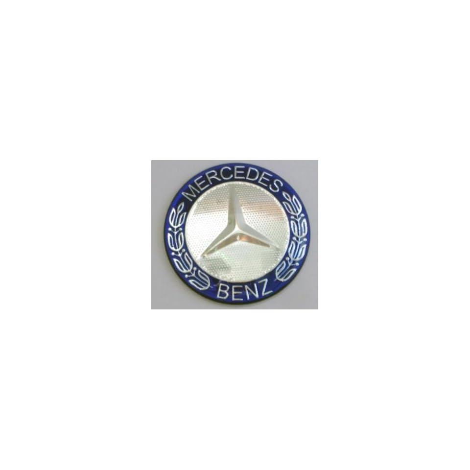 Mercedes Benz (Blue with Silver Trim Logo) Steering Wheel Emblem 52mm