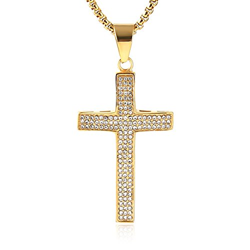 (HZMAN Mens Iced Out Cross Cz Inlay Pendant 18k Gold Plated Stainless Steel Hip-Hop Necklace 24