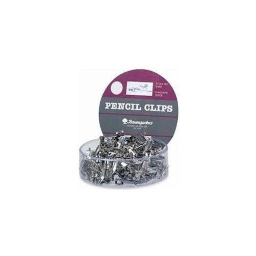 Baumgartens Pencil Clips, For All Standard Size Pencils, 100/DS, Silver for sale