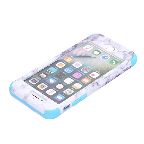 iPhone 6S Coque, Lantier [Marble Series] Drop Protection Hybrid Slim Heavy Duty Dual Layer Verge Shockproof Hard PC Silicone Full-Body Protective Armor Defender Case pour Apple iPhone 6 6S 4.7inch Blu