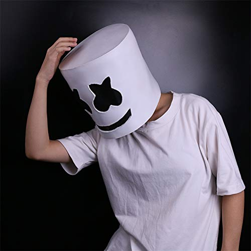 Marshmallow Mask,Electronic syllable DJ headgear Novelty Costume Party Mask Halloween DJ Mask Party Scary Horror Zombie Mask Prom Props