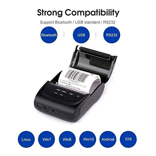 Wireless Bluetooth Receipt Thermal Printer, Portable Personal Bill Printer 2 Inches 58mm Mini USB POS Printer for Restaurant Sales Retail Compatible with Android/iOS/PC/Windows/Linux (Best Restaurant App Android)