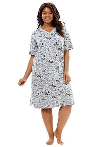 Pure Cotton Sleepshirt (Dreams & Co. Women's Plus Size Short Easy Sleepshirt Coral Red)