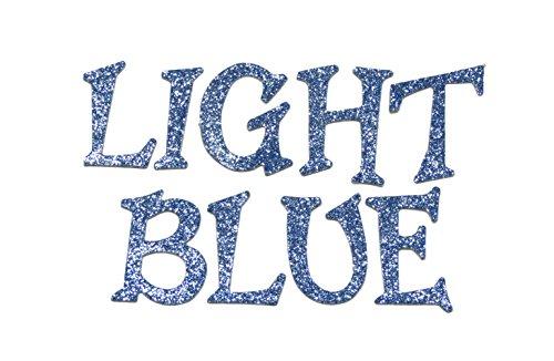 Light Blue Metallic Glitter HandCut 1.5'' Chipboard Uppercase Letters Alphabet set 60 pcs Stickers Fun Serif Font by Agsense
