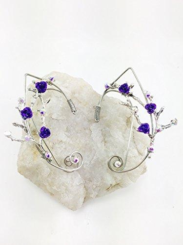 Elven Ear Cuffs Twigs Branches tree Limbs w/roses, Fairy Elven Cuffs, Fairy Ear Cuffs, Cosplay Elf Ear Cuffs, Fantasy Costume Ear Cuffs ()