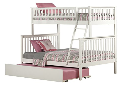 Woodland Bunk Bed with Urban Trundle, White, Twin Over Full