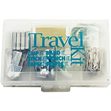 Teacher Peach Office Supply Travel Kit - Portable Case with Mini Stapler, Hole Punch, Tape Dispenser, Sticky Notes, Paper Clips & Rubber Bands - Best as Office Gift Idea for Women Or Men