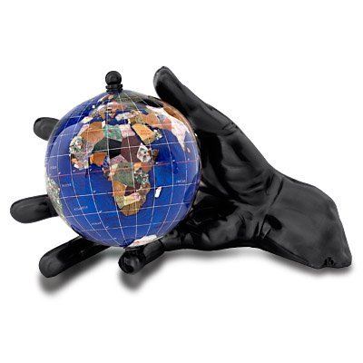Alexander Kalifano Ocean Embraced with Silver Gunmetal World in Your Hand Gemstone Globe, 4'', Caribbean Blue Opalite by Alexander Kalifano