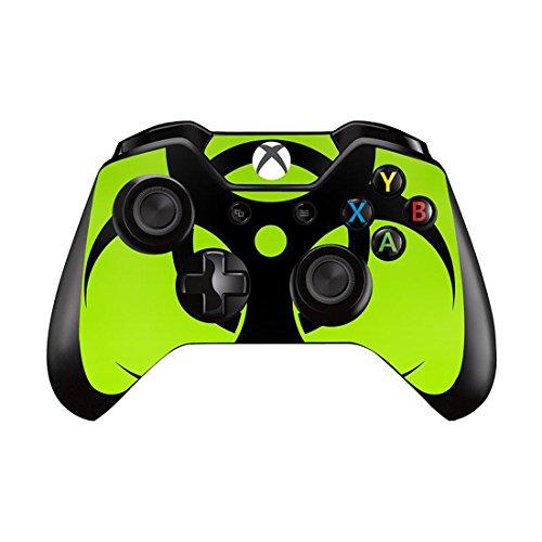 Mod Freakz Pair of Vinyl Controller Skins - Green Biohazard Symbol for Xbox One