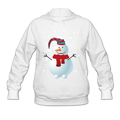 Women's Snowman Winter Lightweight Hoodie White ()