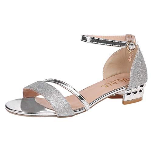 - Women Sandals, LONGDAY  Casual Flat Reshinestone Crystal Slip On Ankle Strap Block Heel Open Toe Party Dress Shoes Silver