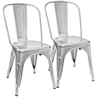 Furmax Metal Dining Chair Tolix Style Indoor-Outdoor Use Stackable Chic Dining Bistro Cafe Side Metal Chairs Silver (2 pack)