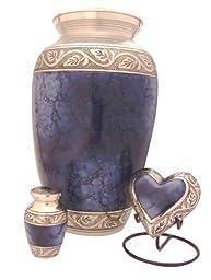 Urnsdirect2u Grecian Blue Cremation Urn Set, Brass