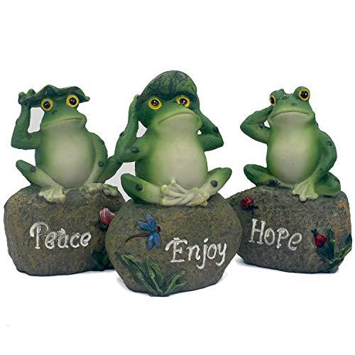 Jayoo 3 Pieces Miniature Frog Garden Statue, 5.1