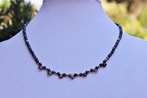 Blue Sapphire With Multi Colored Tundura Sapphire Gemstone Necklace, Boho Necklace, Bohemian Style, Handmade ()