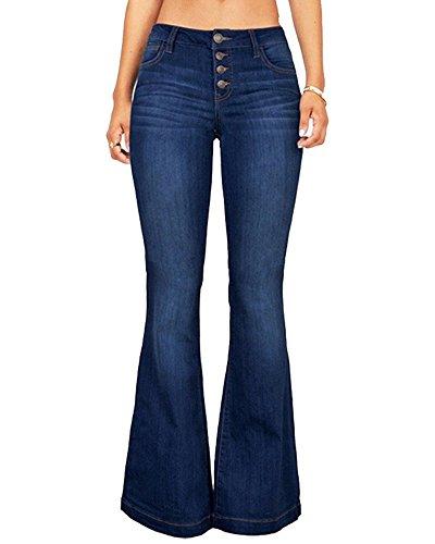 CNJFJ Women's Bell Bottom Jeans High Waist Denim Wide Leg Full Length Pants (Denim Effect Blue)