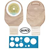 LotFancy 20 Drainable Pouches - Ostomy Bags with Closure for Colostomy Ileostomy Stoma Care, Cut-to-Fit, One-Piece System, FDA Approved, Pack of 20