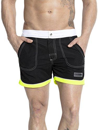 Neleus Mens Dry Fit Beach Shorts Swim Trunks with Pockets,712,Black,XS,S,Tag M