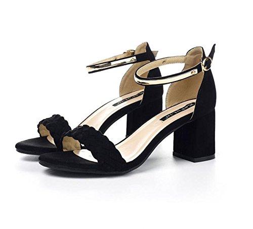 LvYuan Sandalias de verano de las mujeres / moda / fiesta y vestido de noche / tacón grueso / hebilla / friega / zapatos romanos Black