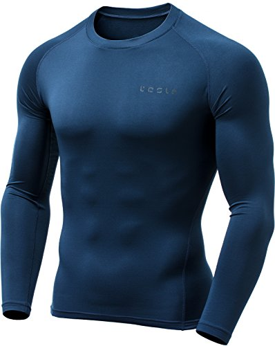 - TSLA Men's Thermal Wintergear Compression Baselayer Long Sleeve Top, Thermal Athletic(yud34) - Navy, X-Large