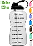 Venture Pal Large 1 Gallon/128 OZ Motivational BPA Free Leakproof Water Bottle with Straw & Time Marker Perfect for Fitness Gym Camping Outdoor Sports-Clear Black