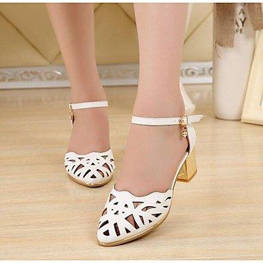 RUGAI-UE Moda de Verano Mujer sandalias casuales zapatos de tacones PU Confort,Blanca,US8 / UE39 / UK6 / CN39 Ivory