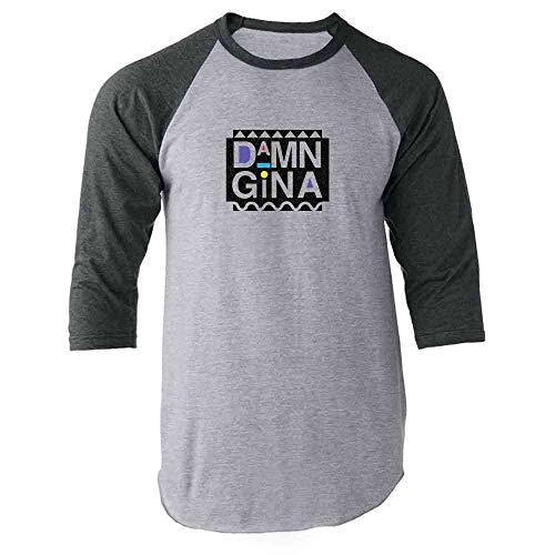 Pop Threads Damn Gina Retro 90s Gray L Raglan Baseball Tee Shirt for $<!--$13.50-->