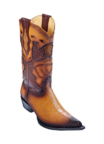 (Men's 3X Toe Faded Buttercup Genuine Leather Stingray Skin Rowstone Finish Western Boots W/Cowboy Heel)