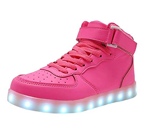 High Top Velcro LED Light Up Shoes 7 Colors USB Flashing Rechargeable Walking Sneakers For Kids Boots With Remote Control(Toddler/Little Kids/Big Kids)-34(pink) by WONZOM FASHION