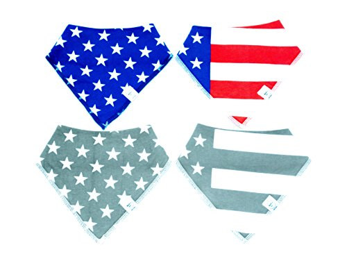 Stars And Stripes Bibdanas Baby Drool Bib Bandana 4 pack American Flag