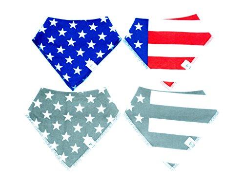 Stars And Stripes Bibdanas Baby Drool Bib Bandana 4 pack American Flag