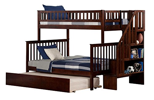 Atlantic Furniture Woodland Staircase Bunk Bed with Urban Trundle, Antique Walnut, Twin Over Full
