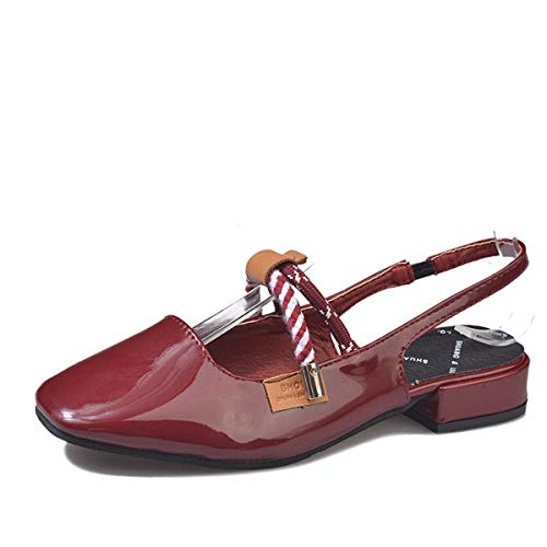 Noeuds Sandales Boucles Moyens Femme Carre Retro Claret Et thirty Talons Chaussures Basses Extrmits Kphy nine Simples Laque Opw0nxc5gS