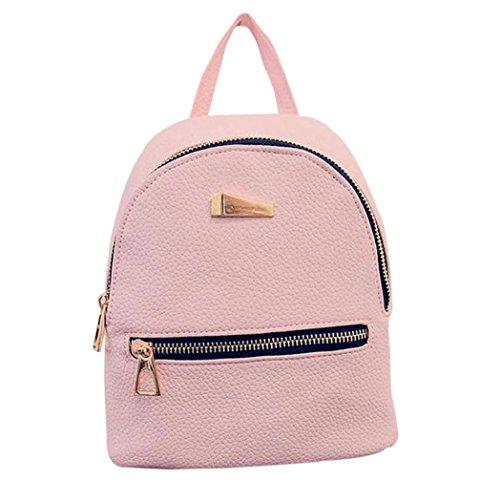 PU Leather Backpack Bags,Hemlock Girls Travel Handbag School Rucksack Bag (Pink)