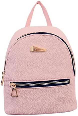 PU Leather Backpack Bags,Hemlock Girls Travel Handbag School Rucksack Bag (Pink)