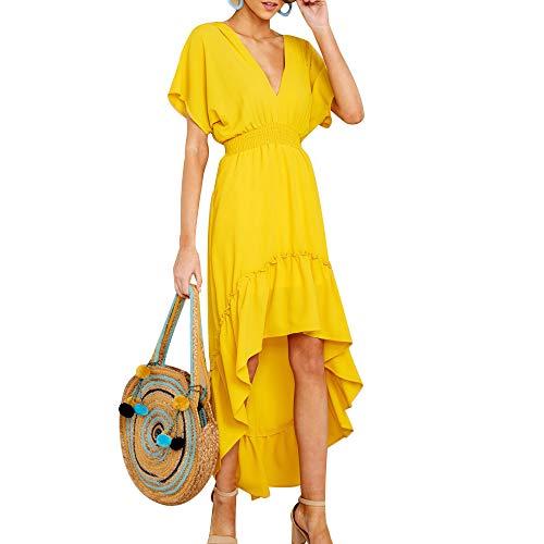 Joteisy Women's V Neck Short Sleeves Tie Back Ruffled High Low Hem Maxi Dress (XL, -