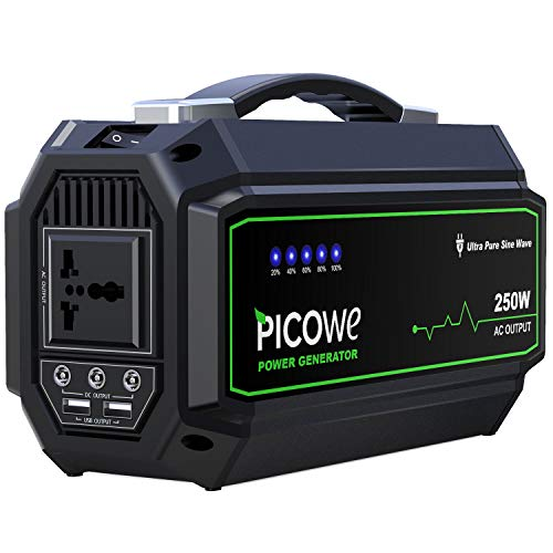- Picowe Portable Power Station 250Wh Rechargeable Lithium Battery Pack Solar Power Generator 110V AC Outlet 3 DC Port 2 USB Ports Emergency Power Supply Backup for CPAP Camping Fishing Travel