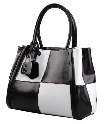 Hynes Eagle Designer Checkered Top Handle Handbags Cute Satchels (Black)