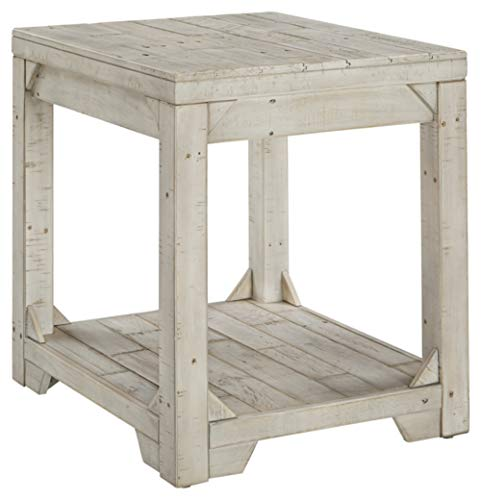 Signature Design by Ashley Fregine Farmhouse Square End Table with Floor Shelf, Weathered White Finish