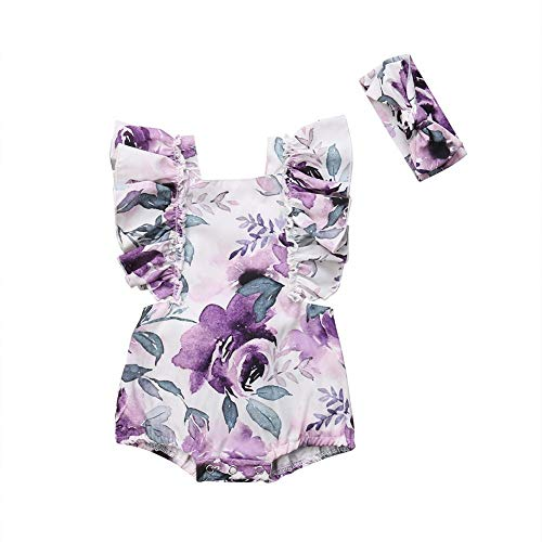 2PCS Newborn Infant Baby Girls Summer Romper Ruffled Floral Bodysuit Overall Kids Jumpsuit Clothes Outfits -
