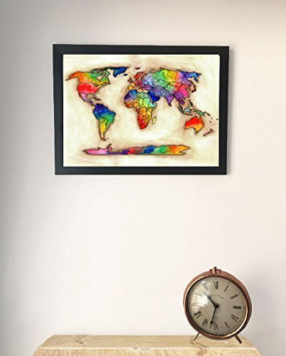 Bright Watercolour Map Of The World A4/A3 Picture