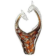 "15.75"" Tan Brown and Silver Affectionate Giraffes Decorative Hand Blown Glass Figurine"