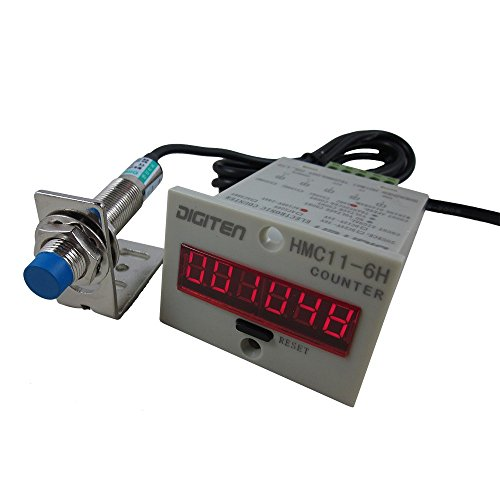 DIGITEN 12V-24V 6-Digit 0-999999 LED Display Digital UP Counter+Inductive Proximity Switch NPN Sensor+holder by DIGITEN