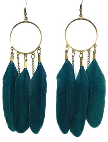 - 1set fashion Feather charm circle chain cute dangle chandelier earrings jewelry