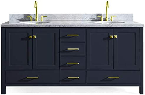ARIEL Cambridge A073D-VO-MNB 73 Inch Double Oval Sink Bathroom Vanity Cabinet with Carrara White Marble Countertop, Midnight Blue