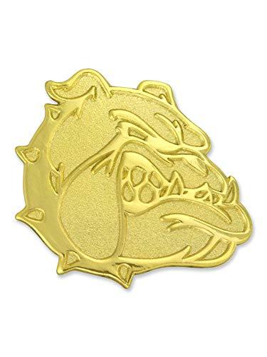 - PinMart Gold Chenille Bulldog Mascot Letterman's Jacket Lapel Pin 1