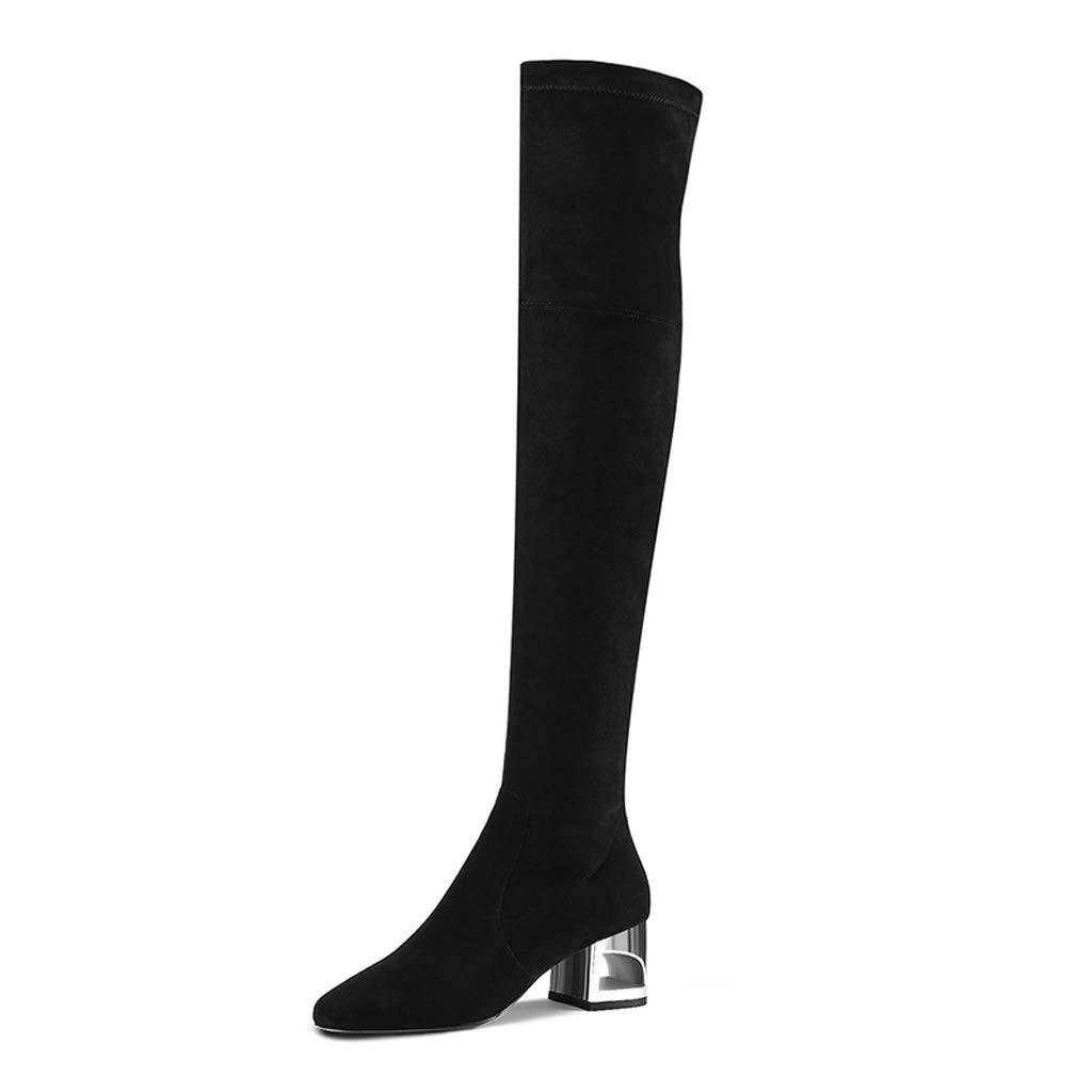 Stiefel Frauen Overknee Dicke Stiefel 2018 Herbst und Winter Langen mit Langen Winter Stiefeln war dünn elastische Stiefel Damenstiefel Schwarz (Farbe   SCHWARZ, größe   38) a3d46b