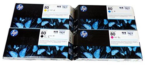 Genuine Original OEM HP 80 Printhead and Cleaner CKMY Set for HP Designjet 1050c/1050c Plus/1055cm/1055cm Plus - C4820A C4821A C4822A C4823A