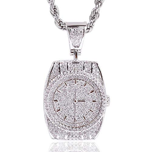 - AOVR Hip Hop Cuban Link Chain 14k Gold Plated CZ Crystal Bling Bling Fully Iced-Out Watch Tag Pendant (Watch Silver)
