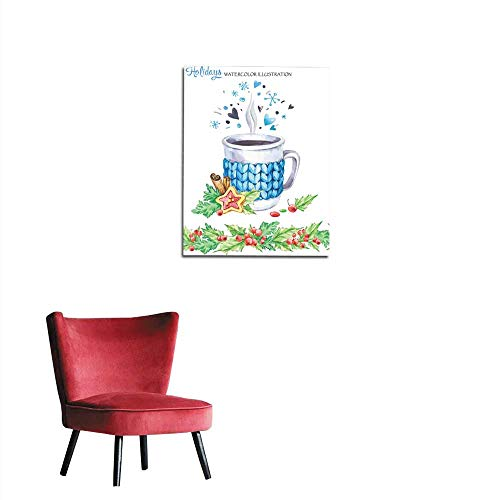 Wall Picture Decoration Watercolor Illustration Hand Painted Cup of hot Drink with Knitted case Rowan and Leaves Seamless Floral Border Christmas New Year Can be use in Winter Holidays dmural 32